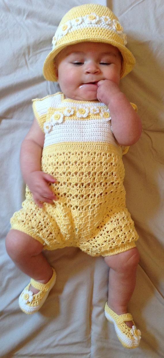 Baby Girl or Boy Romper Outfit Crochet Pattern 1