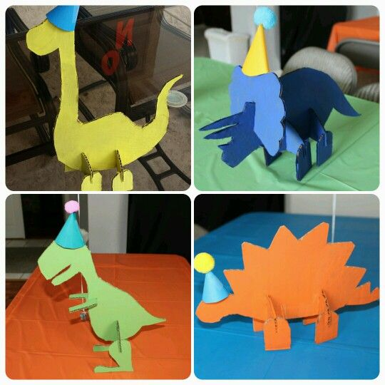 Dino party centerpieces, dinosaur centerpieces, cardboard dinos