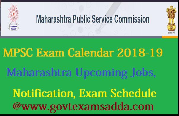 MPSC Exam Calendar 2018-19