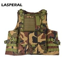 LASPERAL Hunting Fishing Camouflage Vest Multi Pockets Military Tactical Vests Battle Airsoft Molle Combat Assault Plate Carrier