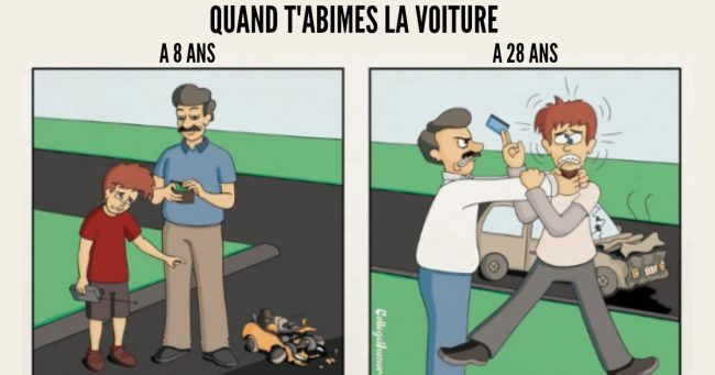Top 6 des illustrations sur la vie chez tes parents à 8 ans VS à 28 ans