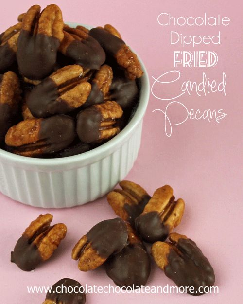 Fried Candied Pecans from Chocolate, Chocolate and more #pecans #snack #food gifts
