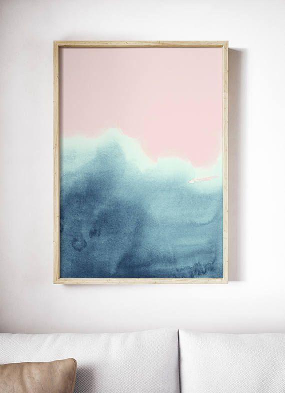 Abstract Waves Print Printable Pink Print Watercolor Prints
