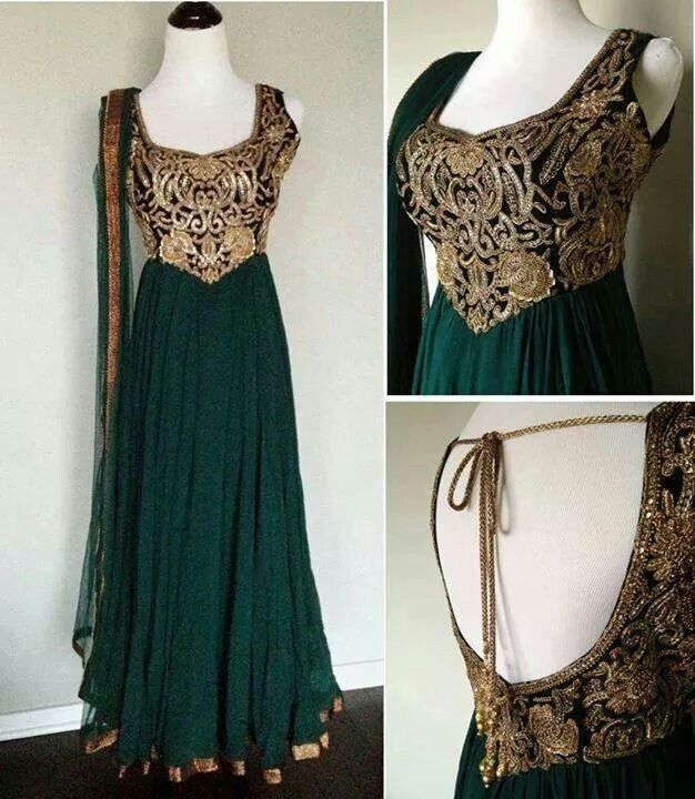 Bottel green gorgegette anarkali with golden hand embroidery