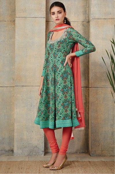 Payal Singhal Green Anarkali Style Designer Party Wear Salwar Suit