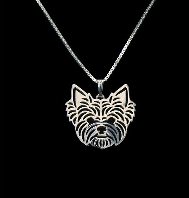 Min 1pcs Yorkshire Terrier Necklace 3D Cut Out Puppy Dog Lover Pendant Memoria Christmas Gift Fashion For Women Girls Friend