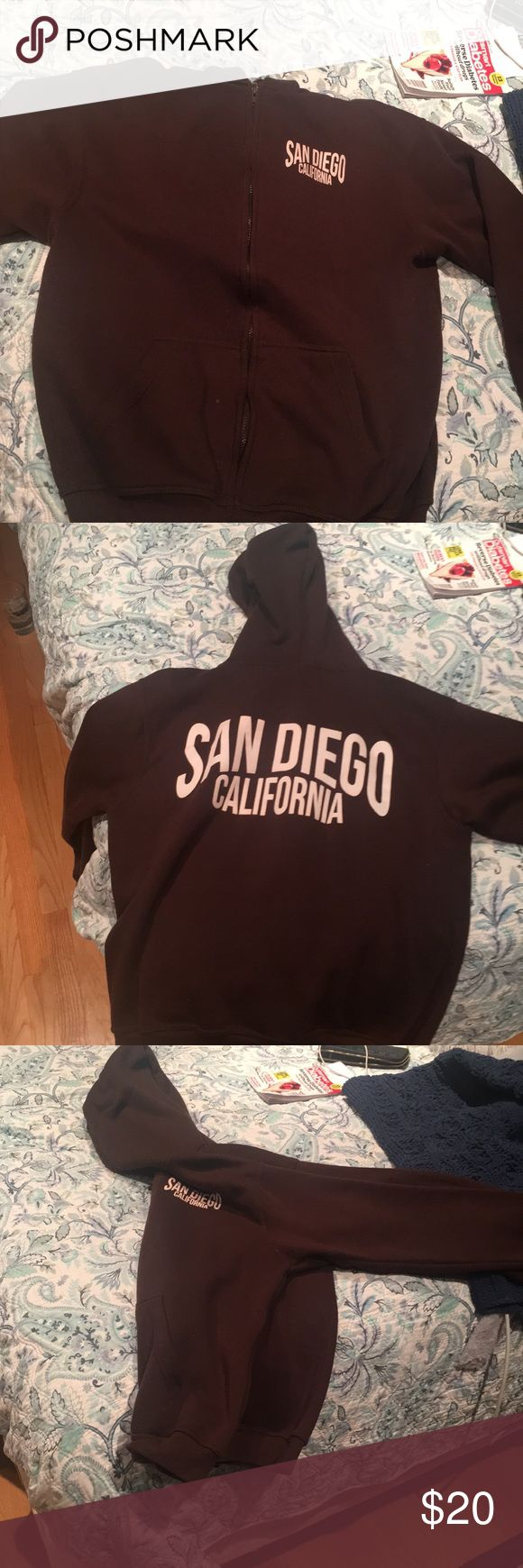 San Diego Chocolate brown zip up hoodie Brown, brand new without tag, Other