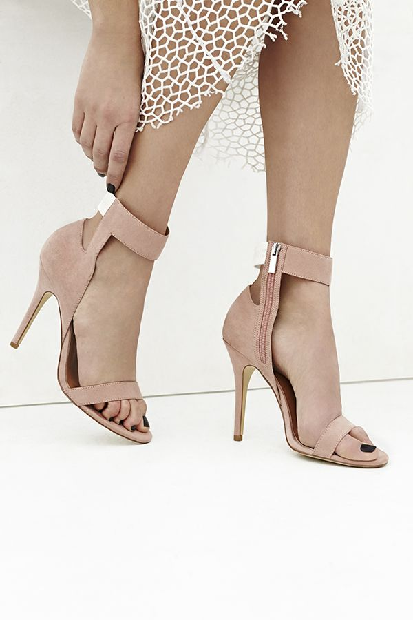Shoe Cult Desire Sandal by Nasty Gal - Sleek blush textured faux suede  sandals featuring a cutout ankle with an elastic back strap and inside zip  closure.