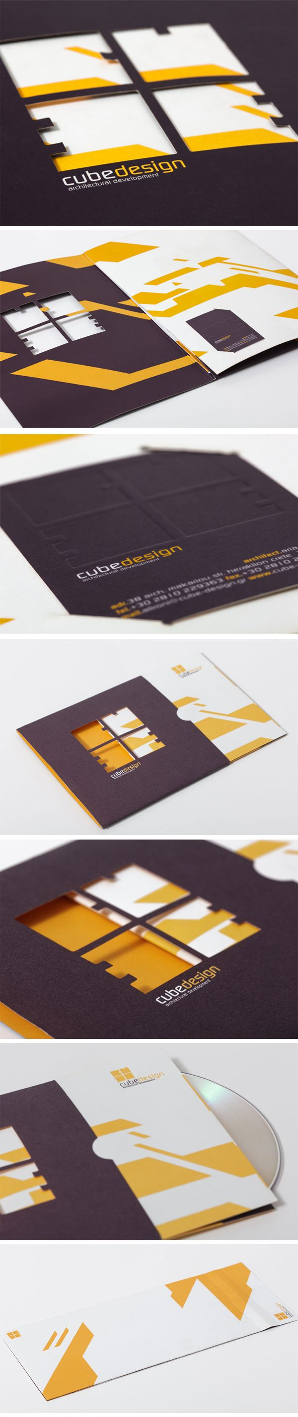 Corporate identity and logo for the architectural office Cube Design #die-cutting #debossing #logo #stationary