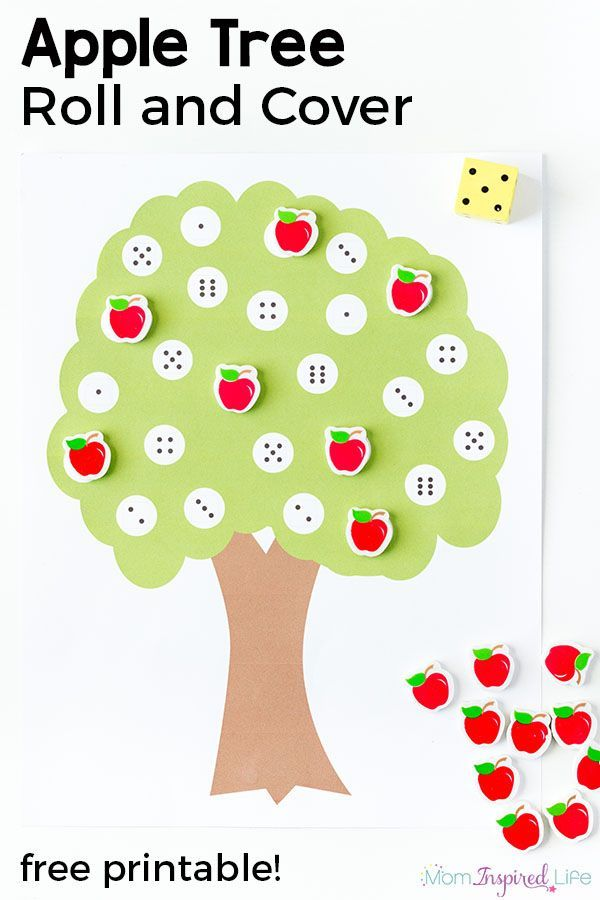 Apple tree number matching roll and cover game. A fun, hands-on way for preschoolers to learn numbers!