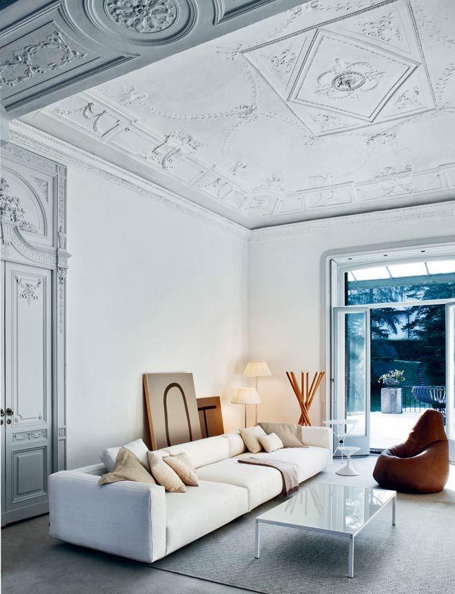 Harmonie : Gris moyen, Gris clair, Blanc gris, beiges, cuir ...