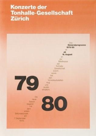 Generalprogramm Konzerte Tonhalle. 1980. Designer: Ruedi Rüegg B R Zürich. Carnegie Mellon Swiss Poster Collection