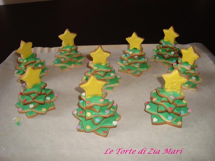 alberelli di natale di biscotto segnaposto - small cookies christmas trees