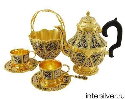 Чайный набор из серебра,перегордчатая горячая эмаль