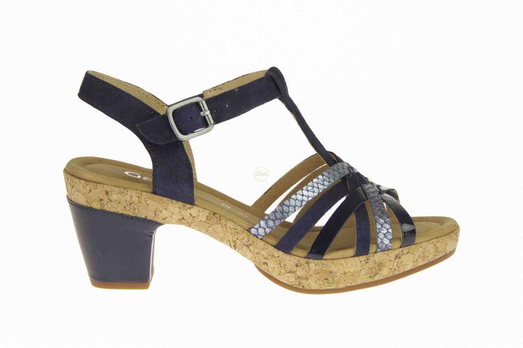 Gabor blauwe sandalen op een kurken zool, maar met een blauwe hak. #Gabor #Zomer2014 #SchoenenCaramel