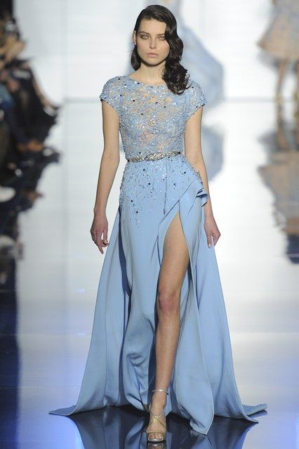 Zuhair Murad SS2015 Couture - stunning blue gown with embellished bodice and thigh high split...x