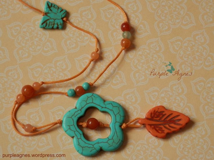 Bohemian Jewelry, Flower and Leaf Pendant, with Little Butterfly Accessory