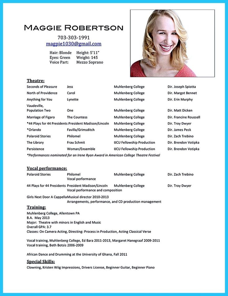 commercial acting resume sle