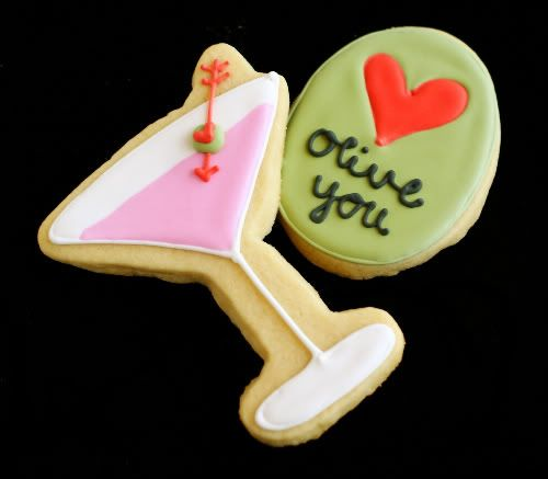 These are the cutest cookies ever!! They are Martini and olive cookies with Royal icing for Valentines Day but I'm thinking great for an adult party as well;)