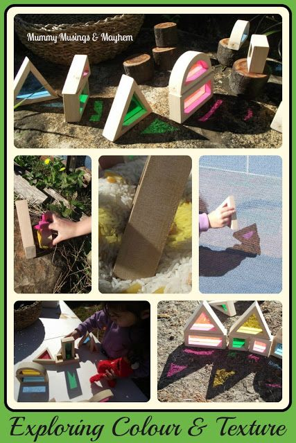 Exploring Colour and texture with window blocks outside...Mummy Musings and Mayhem ~these blocks are sold at lakeshore learning center in roseville... gonna have to get some!