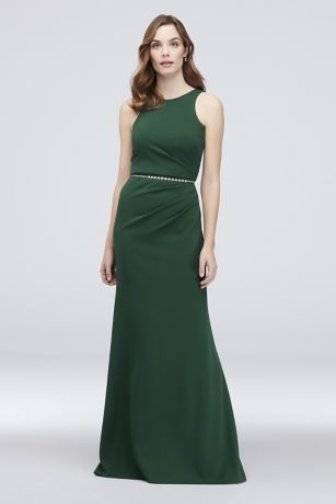 a452ccad2d97f Simple and sophisticated, this stretchy scuba crepe sheath dress features a  high neckline and elegant side pleating at the waist. DB Studio…