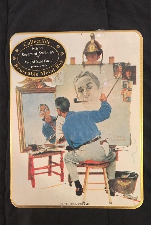 Vintage 1995 Norman Rockwell Triple Self Portrait Stationary Set In Tin Box    eBay