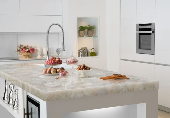 Quartz Countertops Price Per Square Foot Contemporary Style for Spaces with White Quartz by Marble of the World in Miami