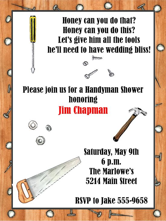 The guys are throwing brett a grooms shower! cute invitation