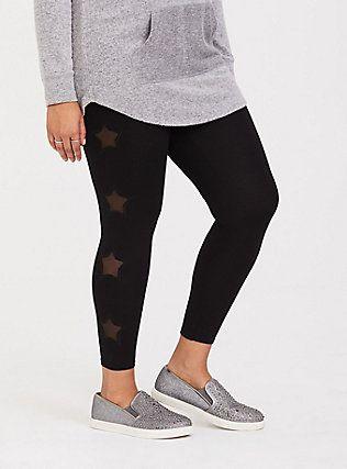 30943677373 Plus Size Black Star Mesh Legging