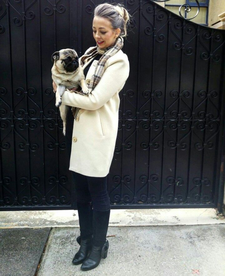Winter Neutrals.   #pug #cream #coat #scarf #black #winter #outfit #inspo