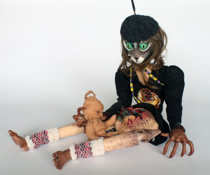 Cat Monster Persephone Marionette by Canadian artist Lindsay Montgomery 2014