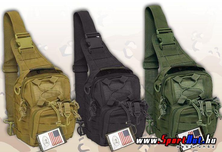 Katonai oldaltáskák - MOLLE MOLLE rendszerű katonai oldaltáskák. A táska kialakítása miatt háton is és oldaltáskaként is hordható, sőt akár övtáskaként is használható.