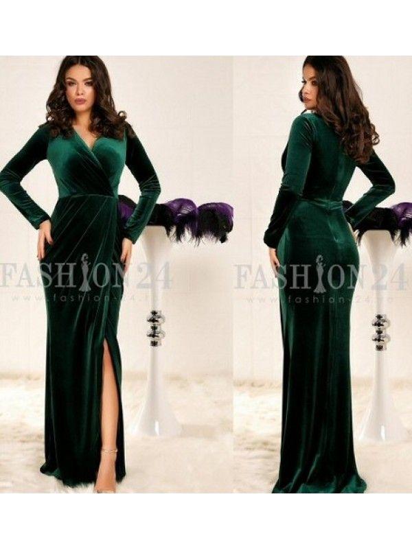 Rochie lunga din catifea verde cu decolteu petrecut Arya