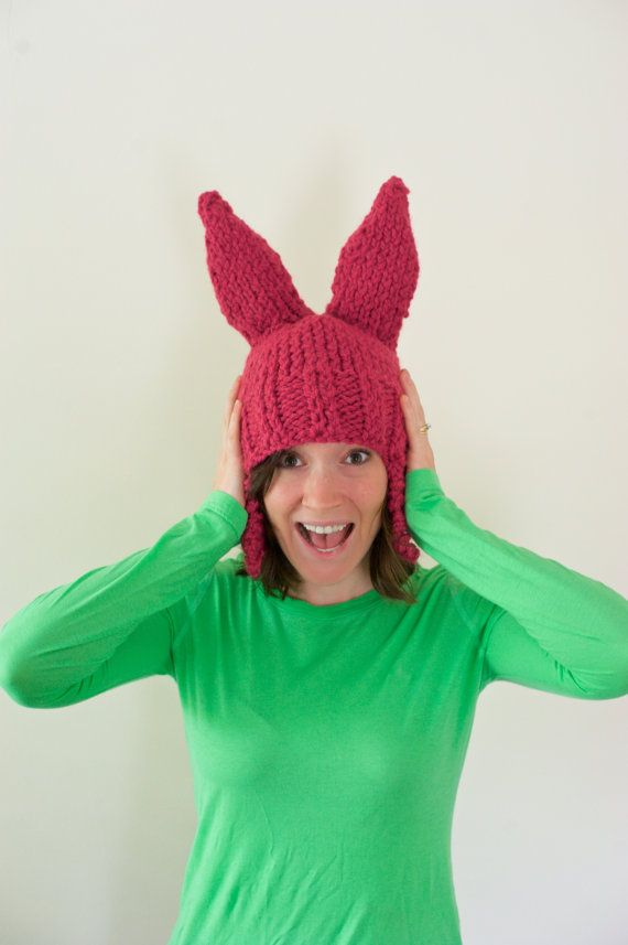 Pink Bunny Ear Knit Hat *INSPIRED BY* Louise Belcher of Bob's Burgers * Adult Size *