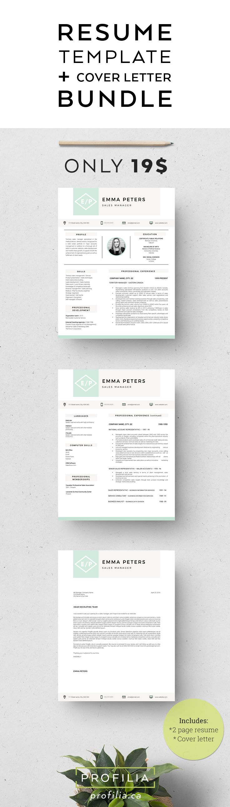 modern resume cover letter template 3 page bundle with fonts