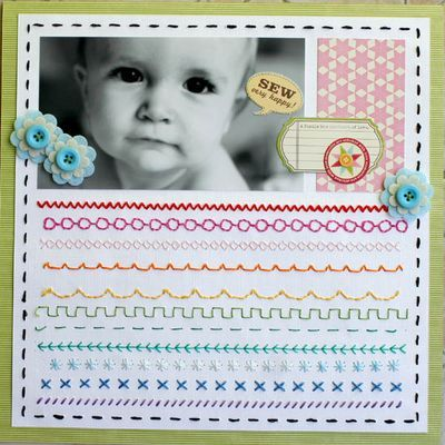 Sew Very Happy layout by Carole Maurin (via Jillibean Soup blog). LOVE all the stitching!