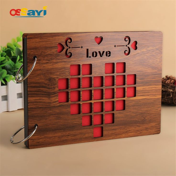 $27.02 - Cool Photo Albums 8 Inch Hot Red Wood Cover Albums Handmade Loose-leaf Pasted Photo Album Personalized Baby Lovers DIY Photo Album - Buy it Now!