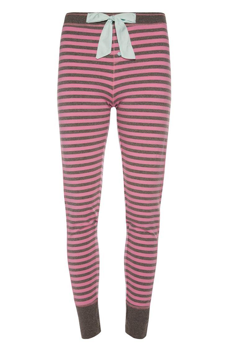Primark - Roze gestreepte pyjamalegging met strik