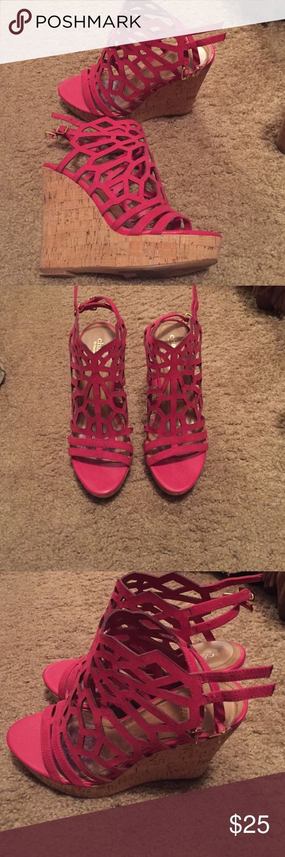 Hot pink wedges Hot pink wedges, only worn once Shoes Wedges