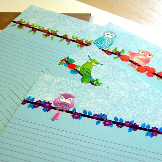 mini letter writing set four owls cute stationery set