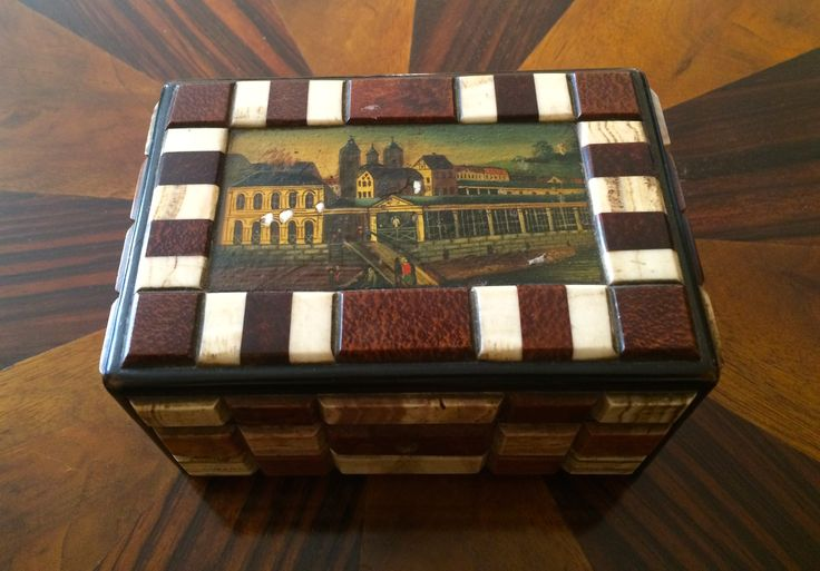 box , aragonite mosaic , painting the colonnade , slightly damaged , half of the 19 th century, Karlovy Vary ,West Bohemia