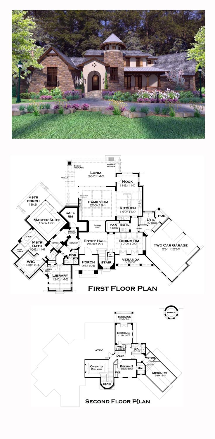 Tuscan House Plan 75132 | Total Living Area: 3927 sq. ft., 3 bedrooms and 3.5 bathrooms. #tuscanhome