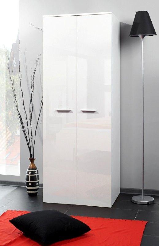 Wardrobe 70e - 70 cm width white gloss wardrobe