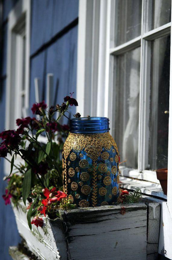 Azul de florero, de estilo bohemio linternas marroquíes adornado con oro Henna y diamantes hogar decoración decoración de la boda decoración de la fiesta otoño invierno decoración