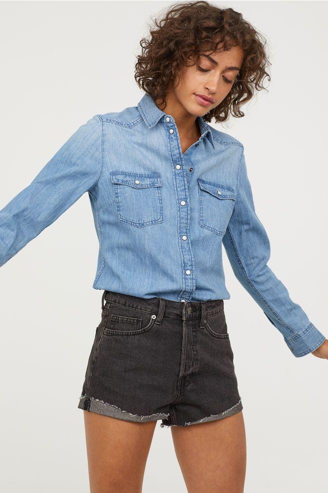 3c4171af8d36 Denim Shirt   COLOR: Blue   Denim Shirt, Denim, Shirt blouses
