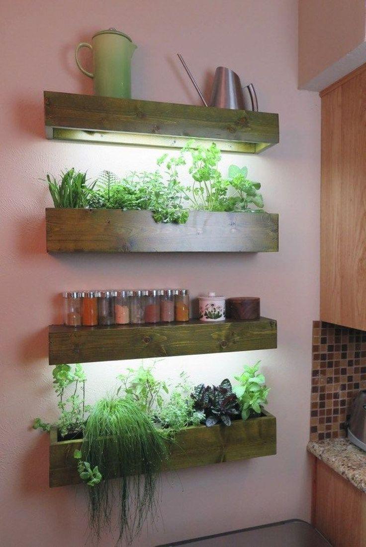 40 Simple Indoor Herb Garden Ideas For More Healthy Home Air In 2020 Herb Garden In Kitchen Indoor Plant Shelves Indoor Herb Garden