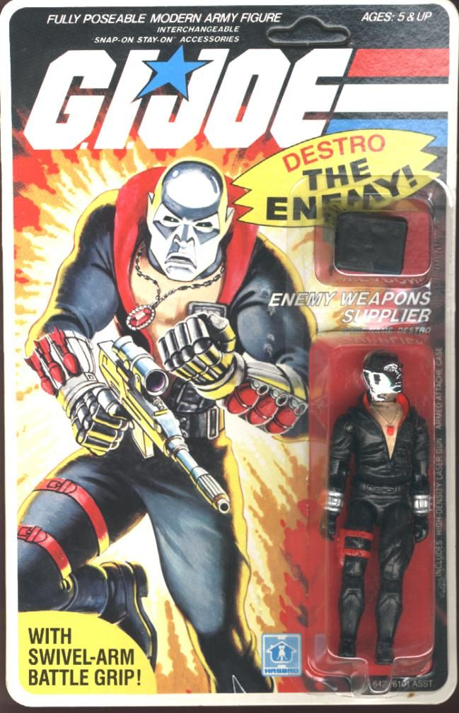 A carded vintage G.I. Joe. Destro would be nice, but Xamot/Tomax, Dr. Mindbender or Sci-Fi are likely more affordable.