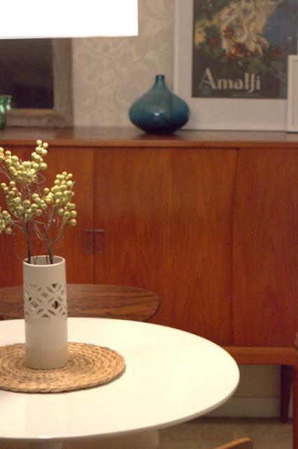 teak credenza + tulip table