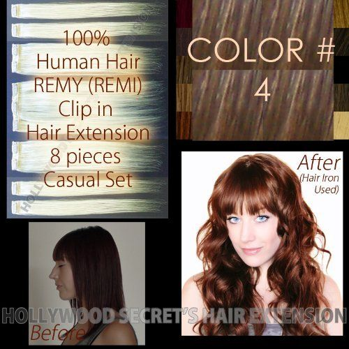 """16 inches HS Clip in Hair Extensions, 8pc set, Color#: 4 - Medium Brown, 100% Human Hair, REMY, Straight by Hollywood Secret's Hair Extension. $89.00. Hair Material: 100% Human REMY (REMI) Hair. Width: Approx. 6""""(152mm)x2pc, 3.4""""(86mm)x2pc, 1.5""""(38mm)x4pc. Quantity: 8 Pieces set ( 3clip x 2pc, 2clip x 2pc, 1clip x 4pc ). Length: 16"""" (Approx. 16 inches+, 406mm+). Weight: Approx. 2.65 oz (75 gram) - Covers one whole head.. Color#: Color#: 4 - Medium Brown --- Retail Pr..."""