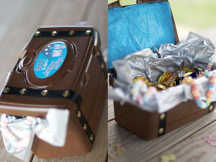 Spray painted baby wipes box, as a treasure chest! Great for a pirate themed party, fill with candy and treats, one for each kid! You can hide them and have a scavenger hunt to find them!
